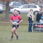 Goats winger Devon Mathieson runs in the first of his two tries at Cromwell's Anderson Park on...