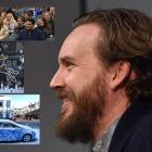 Black Christmas producer Adam Hendricks speaks to University of Otago film students. Insets, from...