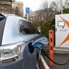 A plug-in hybrid car at the fast-charging station in Filleul St, Dunedin, yesterday. A Dunedin...