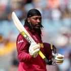 West Indies' Chris Gayle reacts after losing his wicket against Afghanistan. Photo: Reuters
