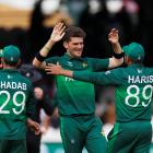 Pakistan's Shaheen Afridi celebrates after the match with team mates. Photo: Action Images via...