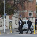 """Otago Boys' High School pupils yesterday afternoon walk across a """"safe crossing'' which is part..."""
