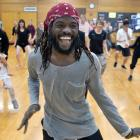 Caroline Plummer fellow Antonio Bukhar leads a dance class for members of the public at the...