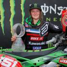 Palmerston rider Courtney Duncan, her Kawasaki KX250F and the trophies she won in the Czech...
