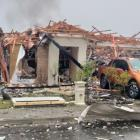 The Marble Court house in the Christchurch suburb of Northwood destroyed in an explosion...