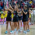 Jane Watson (centre), educated at St Kevin's College, Oamaru, and her Silver Ferns team-mates...