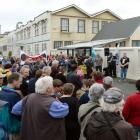 Dunedin South MP Clare Curran speaks at a rally outside Hillside Workshops in 2012.PHOTO: GERARD...