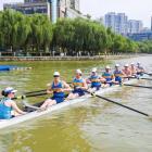 Otago University men's eight rowing team (from left) coxswain Lauren Gibbs, stroke Kyle Hughes,...
