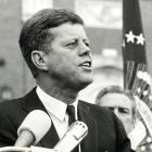 President John F Kennedy delivers a speech at a rally in Fort Worth, Texas, several hours before...