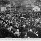 The bands and crowd around the Boer War Memorial at the Oval, Dunedin, during the Peace...