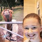 Alexandra teenager Megan Hunt poses next to her photo of an Oamaru horse, which won her the...