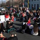Protesters congregate at the intersection of Albany and Cumberland Sts in Dunedin at the end of...