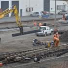 A large section of track in the Dunedin central KiwiRail rail yards is replaced over the weekend....