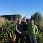 Julie (left), Phil and Helen Wells at their Wrights Rd planting project, which they started five...