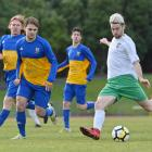 Otago University players (from left) Timothy O'Farrell, Gregory Nimmo and Tom Durkin watch on as...