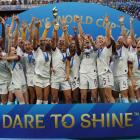 The USA team celebrates after winning football's women's World Cup. Photo: Getty Images