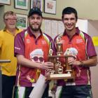 Elliott Mason (left) and Sheldon Bagrie-Howley  display the spoils of victory in the Kittyhawk...