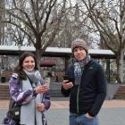 English tourists Joanna Hill and Matt Shadwick surf the internet using a Dunedin City Council wi...