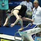 Dunedin swimmer Erika Fairweather prepares to take off from the starting blocks at the swimming...