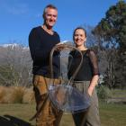Wanaka couple Alex Guichard and Monique Kelly show the lightweight qualities of their chair made...