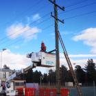 A new power pole is put up outside Alexandra's netball courts on Tuesday morning. Photo: Supplied