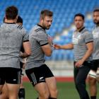 Braydon Ennor takes the ball through a gap during All Blacks training this week. Photo: Getty Images