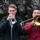 Four young Dunedin brass musicians (from left) Harry Smith (euphonium), Logan Ford (cornet),...