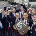 The Christchurch Girls' High School netball team with the Super Net shield, which hasn't been won...