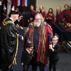 University of Otago chancellor Royden Somerville QC caps Andre McLachlan at a recent university...