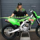 Dunedin motocross rider Courtney Duncan with the KX250 bike she will ride for her new team Bike...