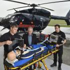 Otago Rescue Helicopter Trust paramedics Pete Walker-Nell (left) and Ryan Burgess (right) test...