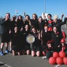 Waitaki Girls' High School Wildfire celebrates winning the North Otago premier netball title by...