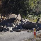 A rockfall blocks the Haast Pass at Clarke Bluff. Photo: Supplied