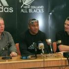 Jonah Lomu seen in 1999 with Phil Kingsley-Jones (left) and NZRFU CEO David Rutherford. Photo: Getty