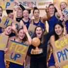 Physed A players celebrate winning the Dunedin premier club competition at the Edgar Centre on...