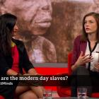 Dr Katarina Schwarz (right) takes part in a recent BBC Impact discussion on modern slavery with...