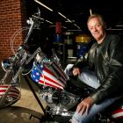 "Fonda poses for a portrait on a replica of the ""Captain America"" bike from 'Easy Rider' . Photo:..."
