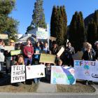 Extinction Rebellion Queenstown Lakes members arrive at the Queenstown Lakes District Council...