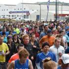 Runners head off from the starting line at the Cadbury Dunedin Half marathon. Photo by Gregor...