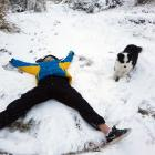 Maddie Hannah (13) and Sika play in the snow on Mt Cargill yesterday. PHOTO: AMBER HANNAH