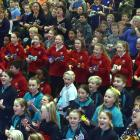 Plucky primary and intermediate pupils strum their way through a song at the 10th Music Education...