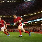 George North of Wales scores the opening try during the Under Armour Summer Series match between...