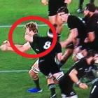 A video still showing Kieran Read's tackle on Pieter-Steph du Toit. Photo via NZ Herald