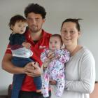 Sam Anderson-Heather, son James (23 months), partner Nicole McGaveston and baby Emma (8 weeks) at...