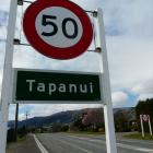 The controversial speed signs at the SH90 entrance to Tapanui from Gore. Photo: Richard Davison