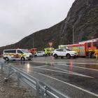 Emergency services at the scene of the crash near Cromwell. Photo: Pam Jones