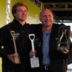 Shane Bouskill (right) and his son Tony have won six Golden Pliers fencing titles between them...