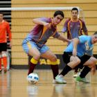 Futsal South's Gabriel Coster-Ruiz steals the ball from Central Hawkes Bay's Patrick Pilz during...