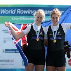 Grace Prendergast and Kerri Gowler with their gold medals for winning the women's pair. Photo:...