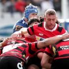 Luke Romano helps out in the melee of a maul during Canterbury's win over Auckland at Eden Park....